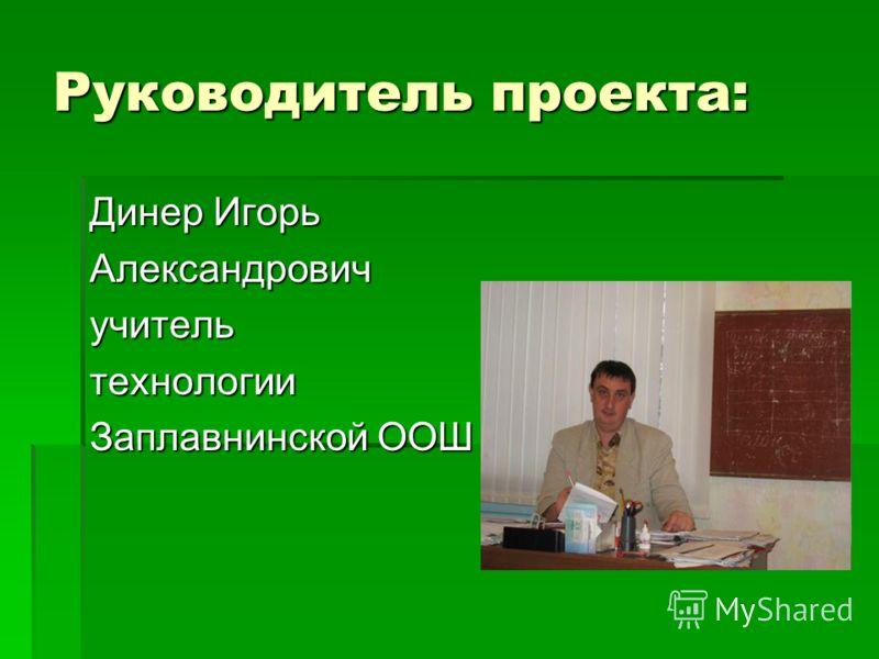 Руководитель проекта: Динер Игорь Александровичучительтехнологии Заплавнинской ООШ