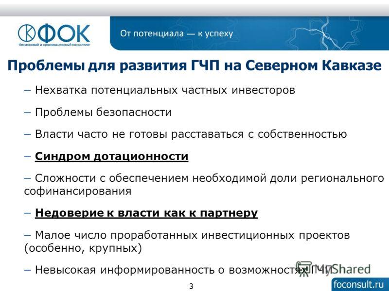 3 Проблемы для развития ГЧП на Северном Кавказе Нехватка потенциальных частных инвесторов Проблемы безопасности Власти часто не готовы расставаться с собственностью Синдром дотационности Сложности с обеспечением необходимой доли регионального софинан