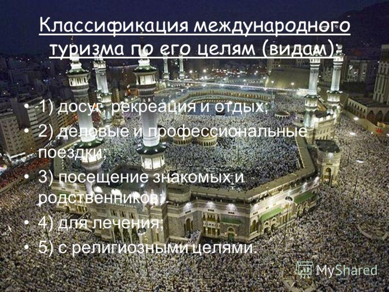 Классификация международного туризма по его целям (видам): 1) досуг, рекреация и отдых; 2) деловые и профессиональные поездки; 3) посещение знакомых и родственников; 4) для лечения; 5) с религиозными целями.