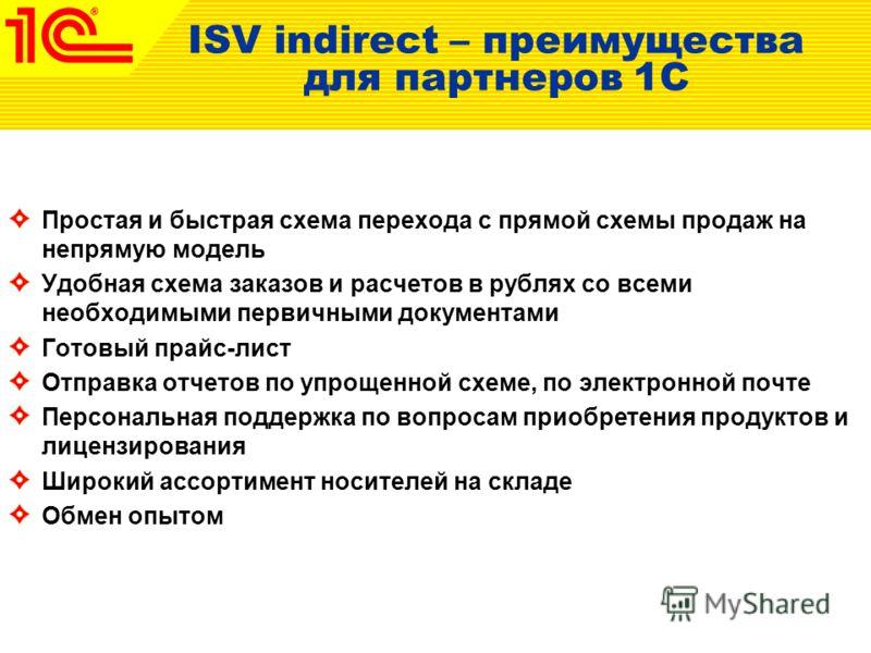 ISV indirect – преимущества для партнеров 1C Простая и быстрая схема перехода с прямой схемы продаж на непрямую модель Удобная схема заказов и расчетов в рублях со всеми необходимыми первичными документами Готовый прайс-лист Отправка отчетов по упрощ