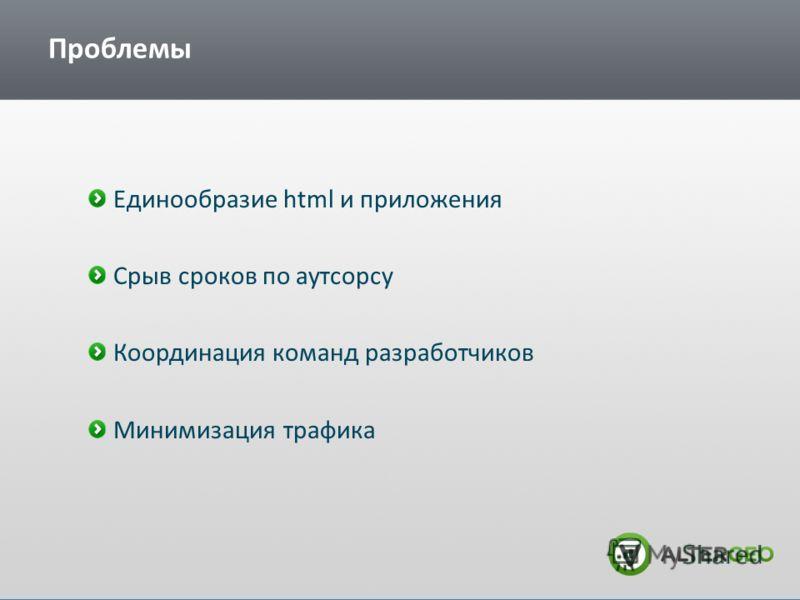 Проблемы Единообразие html и приложения Срыв сроков по аутсорсу Координация команд разработчиков Минимизация трафика