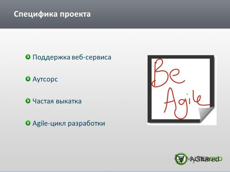 Специфика проекта Поддержка веб-сервиса Аутсорс Частая выкатка Agile-цикл разработки