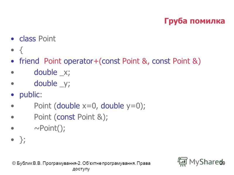 © Бублик В.В. Програмування-2. Об'єктне програмування. Права доступу 29 Груба помилка class Point { friend Point operator+(const Point &, const Point &) double _x; double _y; public: Point (double x=0, double y=0); Point (const Point &); ~Point(); };