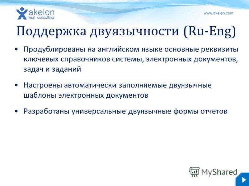 akelon.com Поддержка двуязычности (Ru-Eng) Продублированы на английском языке основные реквизиты ключевых справочников системы, электронных документов, задач и заданий Настроены автоматически заполняемые двуязычные шаблоны электронных документов Разр