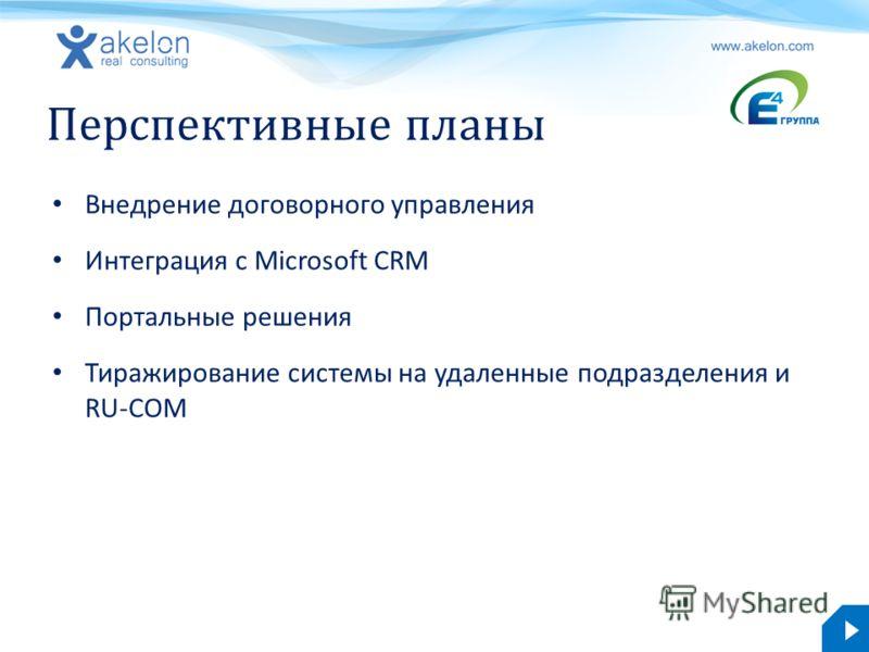 akelon.com Перспективные планы Внедрение договорного управления Интеграция с Microsoft CRM Портальные решения Тиражирование системы на удаленные подразделения и RU-COM
