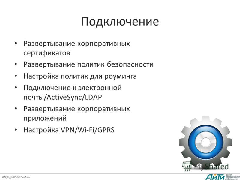 http://mobility.it.ru Подключение Развертывание корпоративных сертификатов Развертывание политик безопасности Настройка политик для роуминга Подключение к электронной почты/ActiveSync/LDAP Развертывание корпоративных приложений Настройка VPN/Wi-Fi/GP