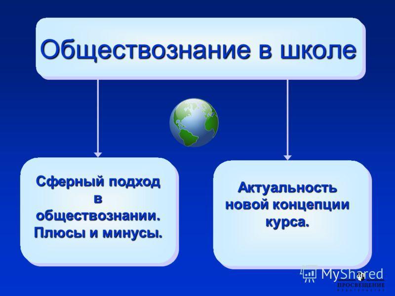 Сферный подход в обществознании. Плюсы и минусы. Обществознание в школе Актуальность новой концепции курса.