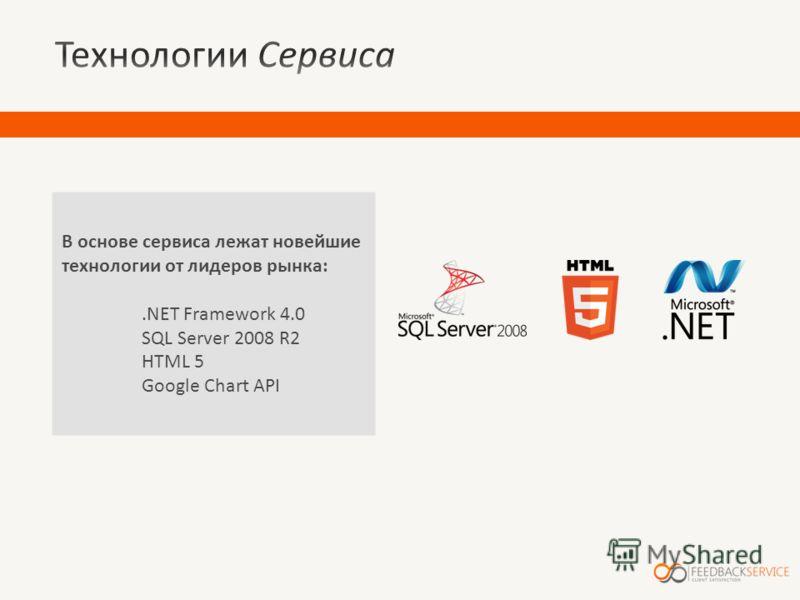 В основе сервиса лежат новейшие технологии от лидеров рынка:.NET Framework 4.0 SQL Server 2008 R2 HTML 5 Google Chart API