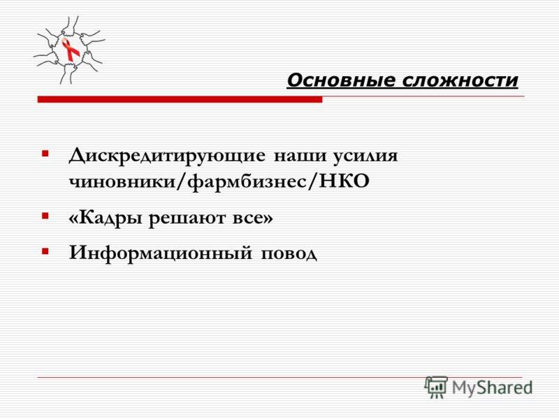 Основные сложности Дискредитирующие наши усилия чиновники/фармбизнес/НКО «Кадры решают все» Информационный повод