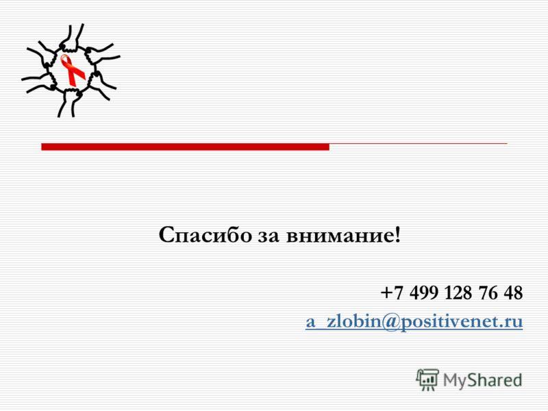 Спасибо за внимание! +7 499 128 76 48 a_zlobin@positivenet.ru