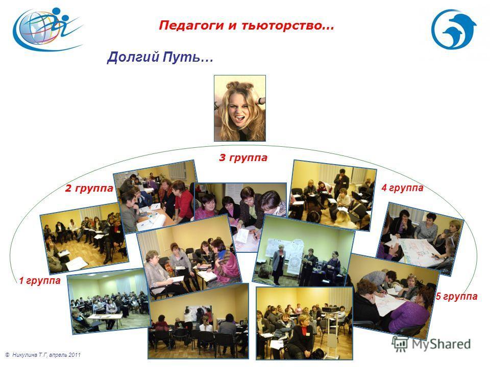 © Никулина Т.Г, апрель 2011 1 группа 2 группа 4 группа 5 группа 3 группа Педагоги и тьюторство… Долгий Путь…