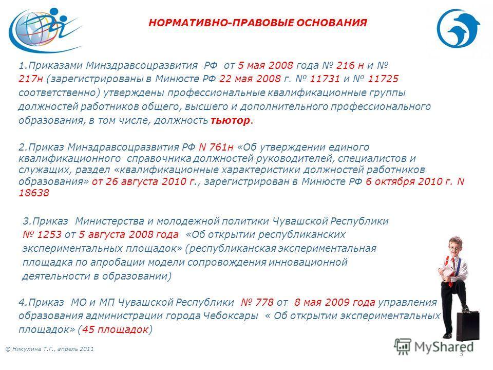 © Никулина Т.Г., апрель 2011 3 1.Приказами Минздравсоцразвития РФ от 5 мая 2008 года 216 н и 217н (зарегистрированы в Минюсте РФ 22 мая 2008 г. 11731 и 11725 соответственно) утверждены профессиональные квалификационные группы должностей работников об