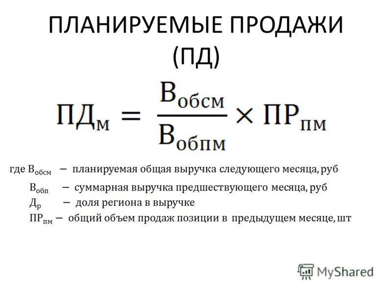ПЛАНИРУЕМЫЕ ПРОДАЖИ (ПД)