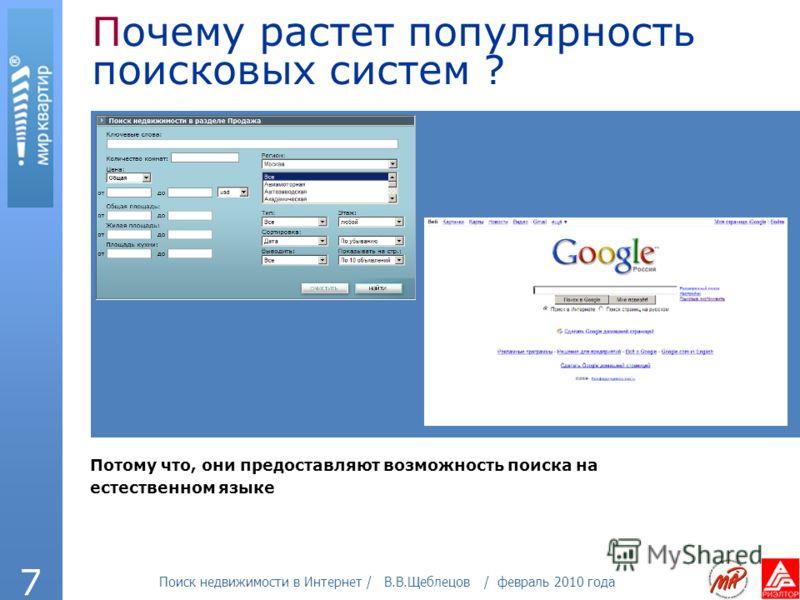 Поиск недвижимости в Интернет / В.В.Щеблецов / февраль 2010 года 7 Почему растет популярность поисковых систем ? Потому что, они предоставляют возможность поиска на естественном языке