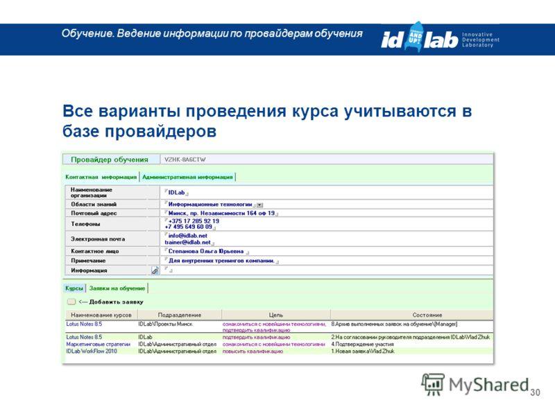 Обучение. Ведение информации по провайдерам обучения 30 Все варианты проведения курса учитываются в базе провайдеров