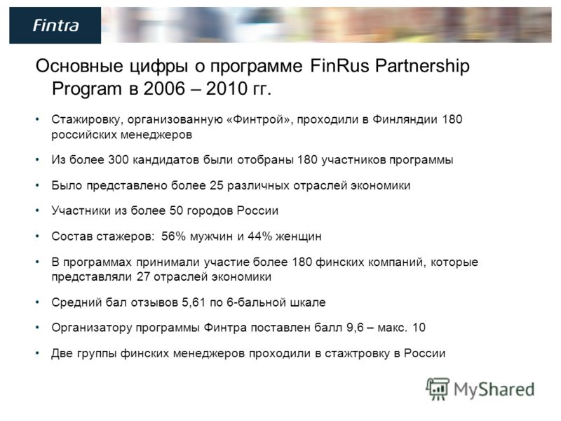 3 Основные цифры о программе FinRus Partnership Program в 2006 – 2010 гг. Стажировку, организованную «Финтрой», проходили в Финляндии 180 российских менеджеров Из более 300 кандидатов были отобраны 180 участников программы Было представлено более 25