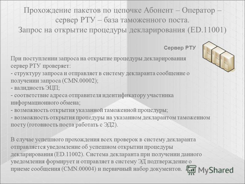 Прохождение пакетов по цепочке Абонент – Оператор – сервер РТУ – база таможенного поста. Запрос на открытие процедуры декларирования (ED.11001) Сервер РТУ При поступлении запроса на открытие процедуры декларирования сервер РТУ проверяет: - структуру