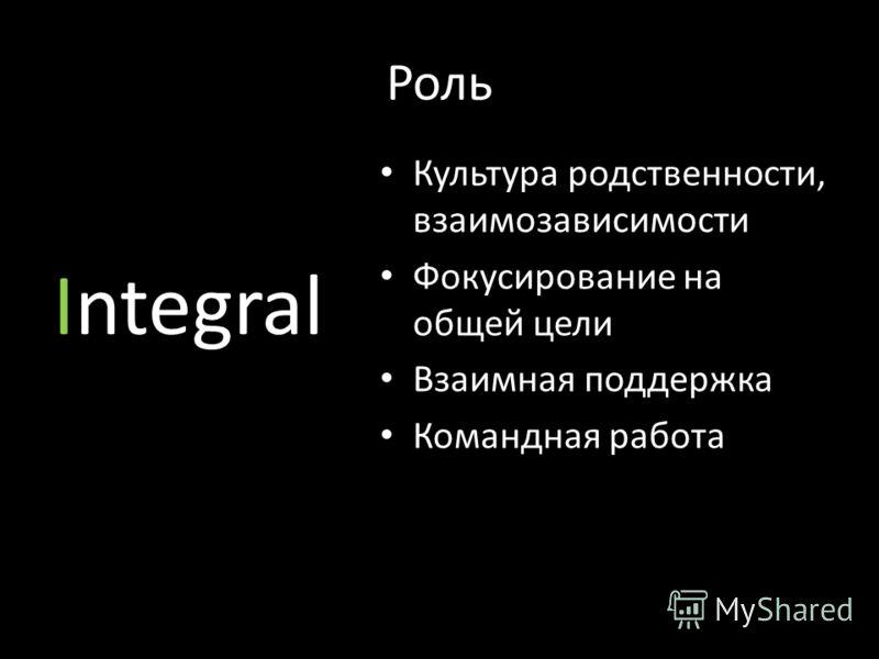Роль Integral Культура родственности, взаимозависимости Фокусирование на общей цели Взаимная поддержка Командная работа