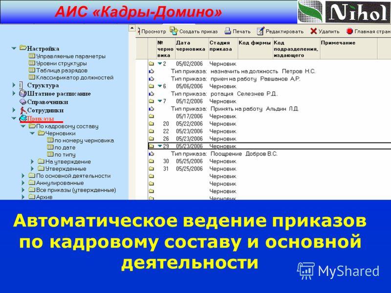 Автоматическое ведение приказов по кадровому составу и основной деятельности АИС «Кадры-Домино»
