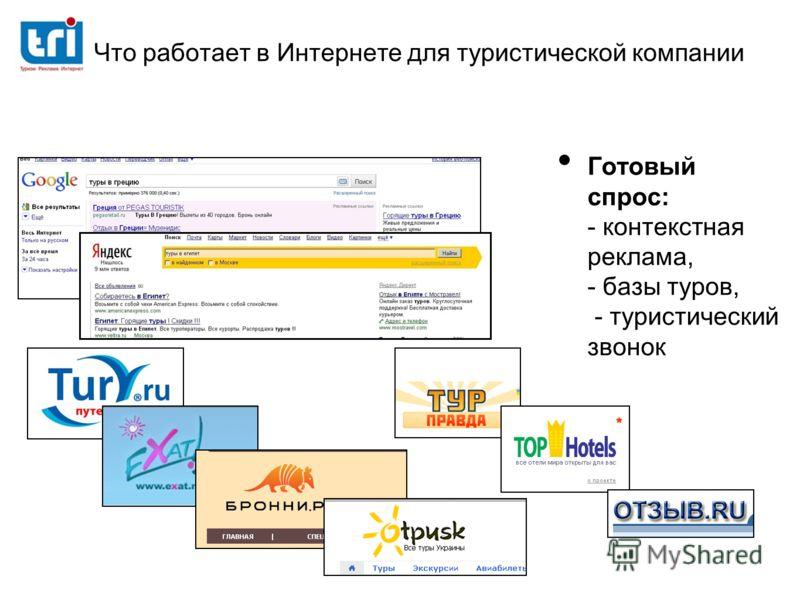 Что работает в Интернете для туристической компании Готовый спрос: - контекстная реклама, - базы туров, - туристический звонок