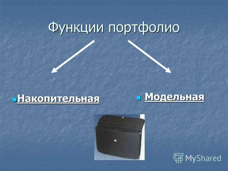 Функции портфолио Модельная Модельная Накопительная Накопительная