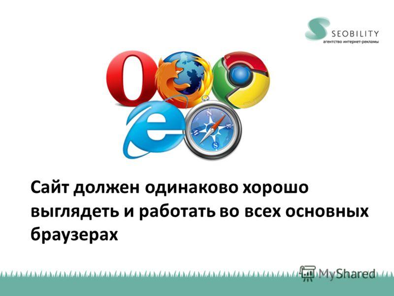 Сайт должен одинаково хорошо выглядеть и работать во всех основных браузерах