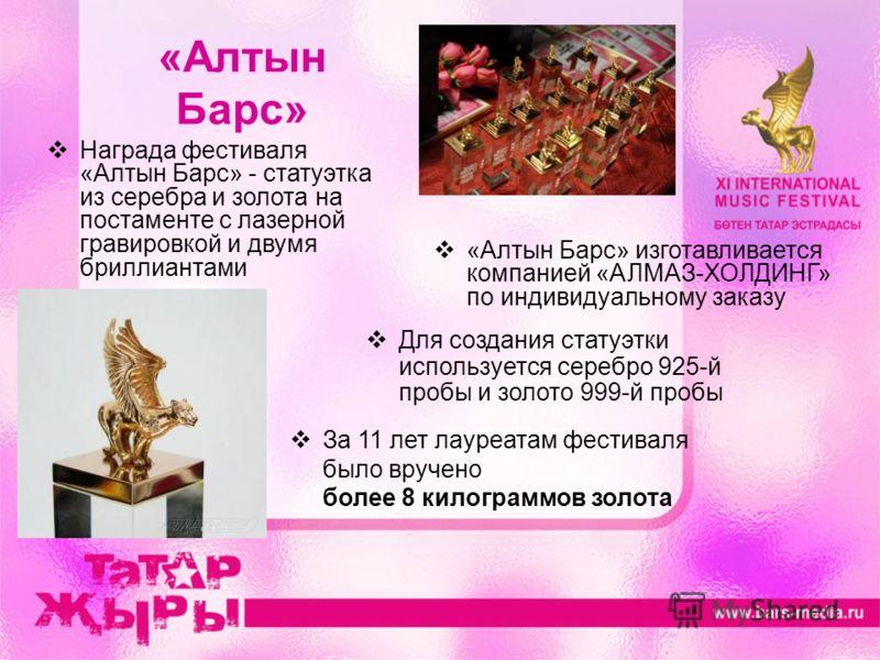 «Алтын Барс» За 11 лет лауреатам фестиваля было вручено более 8 килограммов золота Награда фестиваля «Алтын Барс» - статуэтка из серебра и золота на постаменте с лазерной гравировкой и двумя бриллиантами «Алтын Барс» изготавливается компанией «АЛМАЗ-