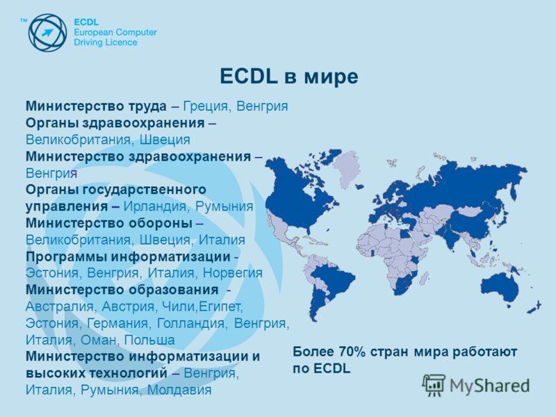 ECDL в мире Министерство труда – Греция, Венгрия Органы здравоохранения – Великобритания, Швеция Министерство здравоохранения – Венгрия Органы государственного управления – Ирландия, Румыния Министерство обороны – Великобритания, Швеция, Италия Прогр