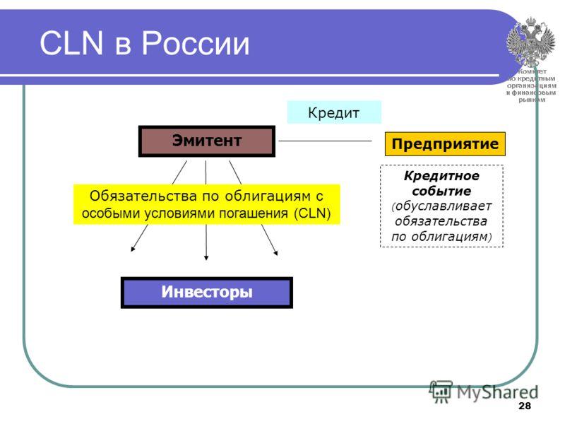 28 CLN в России Предприятие Кредит Кредитное событие ( обуславливает обязательства по облигациям ) Обязательства по облигациям с особыми условиями погашения (СLN) Инвесторы Эмитент