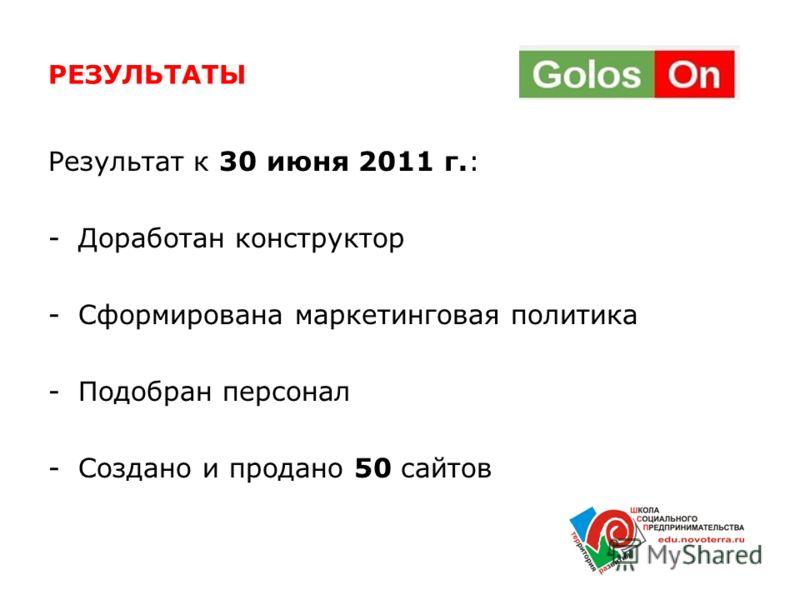 РЕЗУЛЬТАТЫ Результат к 30 июня 2011 г.: -Доработан конструктор -Сформирована маркетинговая политика -Подобран персонал -Создано и продано 50 сайтов