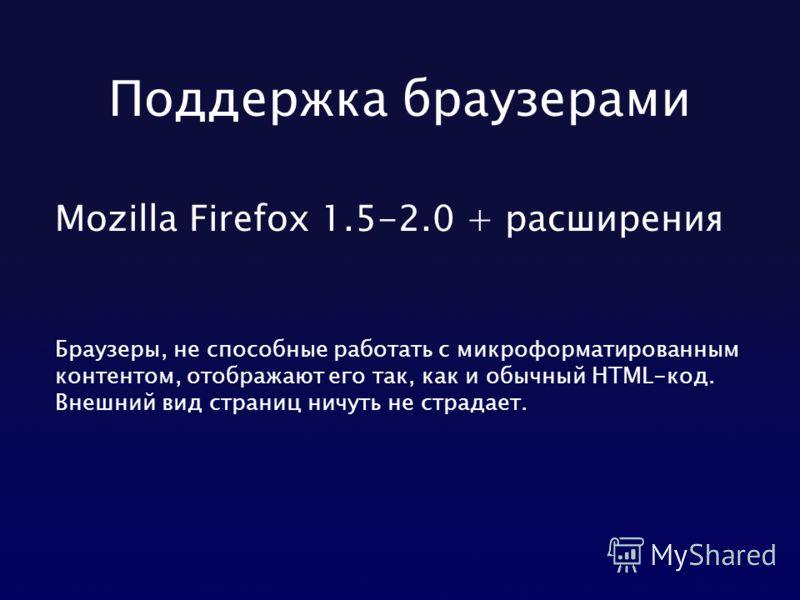 Поддержка браузерами Mozilla Firefox 1.5-2.0 + расширения Браузеры, не способные работать с микроформатированным контентом, отображают его так, как и обычный HTML-код. Внешний вид страниц ничуть не страдает.