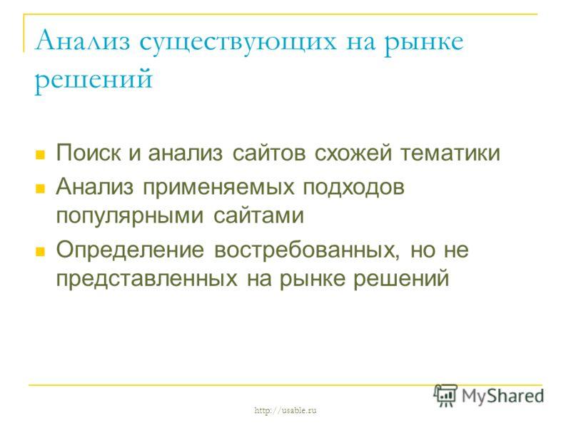 http://usable.ru Анализ существующих на рынке решений Поиск и анализ сайтов схожей тематики Анализ применяемых подходов популярными сайтами Определение востребованных, но не представленных на рынке решений