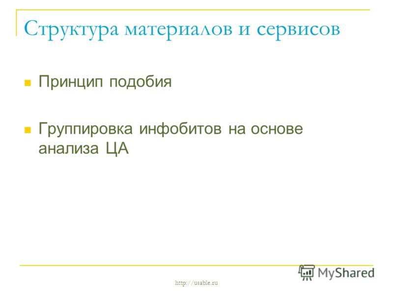 http://usable.ru Структура материалов и сервисов Принцип подобия Группировка инфобитов на основе анализа ЦА