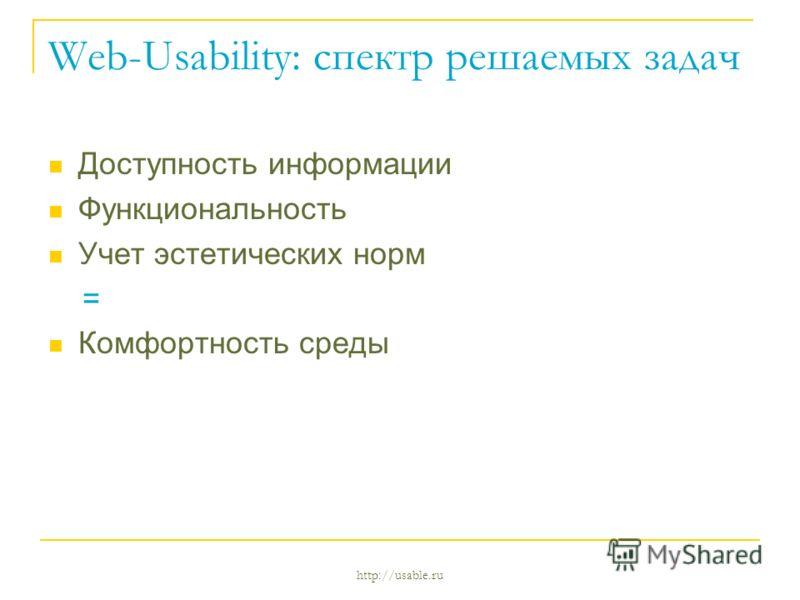 http://usable.ru Web-Usability: спектр решаемых задач Доступность информации Функциональность Учет эстетических норм = Комфортность среды