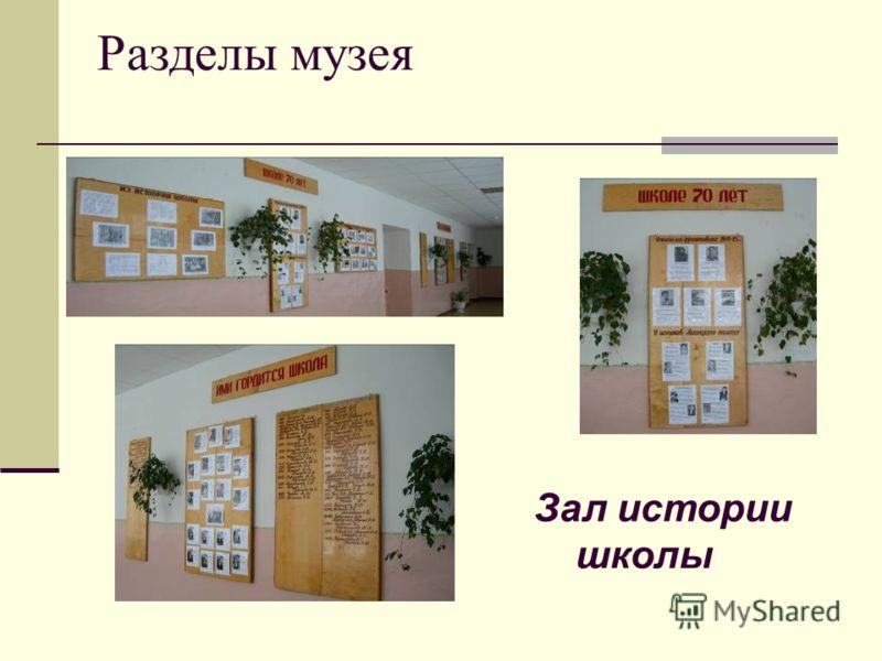 Разделы музея Зал истории школы