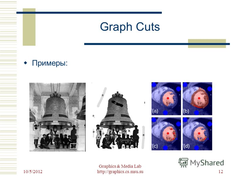 8/22/2012 Graphics & Media Lab http://graphics.cs.msu.su12 Graph Cuts Примеры: