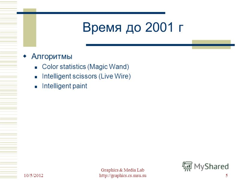 8/22/2012 Graphics & Media Lab http://graphics.cs.msu.su5 Время до 2001 г Алгоритмы Color statistics (Magic Wand) Intelligent scissors (Live Wire) Intelligent paint