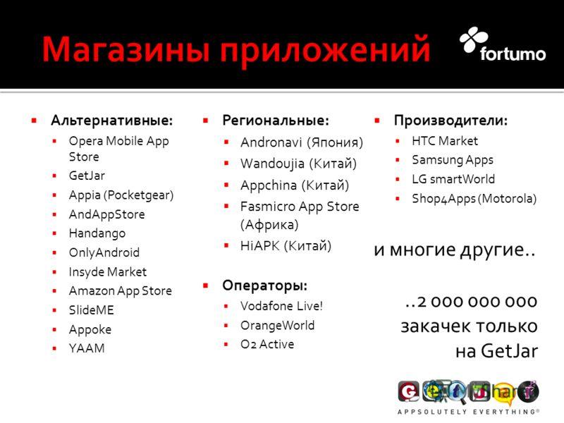Альтернативные: Opera Mobile App Store GetJar Appia (Pocketgear) AndAppStore Handango OnlyAndroid Insyde Market Amazon App Store SlideME Appoke YAAM Региональные: Andronavi (Япония) Wandoujia (Китай) Appchina (Китай) Fasmicro App Store (Африка) HiAPK