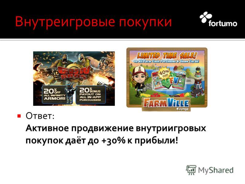 Ответ: Активное продвижение внутриигровых покупок даёт до +30% к прибыли!