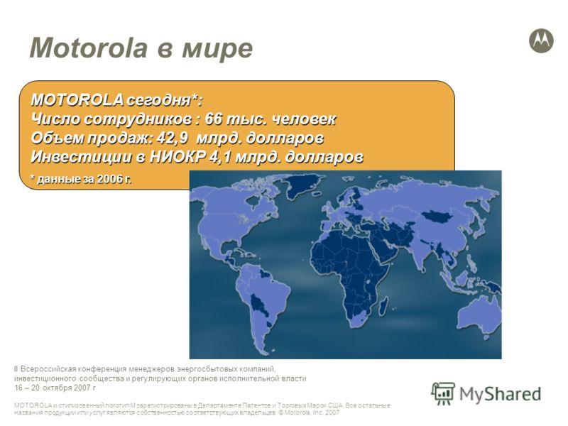 MOTOROLA и стилизованный логотип M зарегистрированы в Департаменте Патентов и Торговых Марок США. Все остальные названия продукции или услуг являются собственностью соответствующих владельцев. © Motorola, Inc. 2007 II Всероссийская конференция менедж