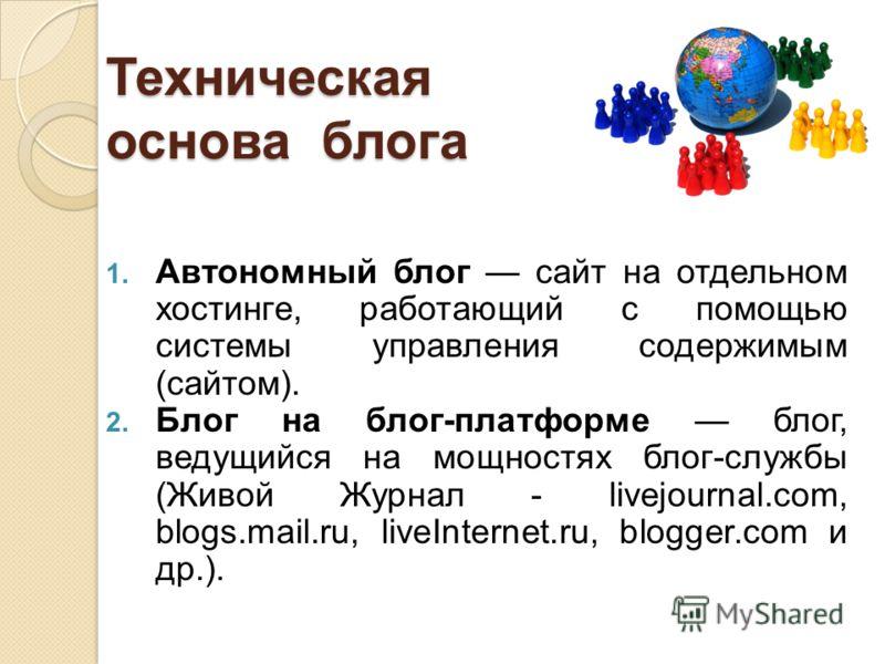 Техническая основа блога 1. Автономный блог сайт на отдельном хостинге, работающий с помощью системы управления содержимым (сайтом). 2. Блог на блог-платформе блог, ведущийся на мощностях блог-службы (Живой Журнал - livejournal.com, blogs.mail.ru, li