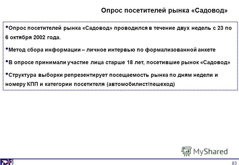 83 Опрос посетителей рынка «Садовод» проводился в течение двух недель с 23 по 6 октября 2002 года. Метод сбора информации – личное интервью по формализованной анкете В опросе принимали участие лица старше 18 лет, посетившие рынок «Садовод» Структура