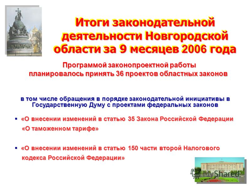 Итоги законодательной деятельности Новгородской области за 9 месяцев 2006 года Программой законопроектной работы Программой законопроектной работы планировалось принять 36 проектов областных законов в том числе обращения в порядке законодательной ини