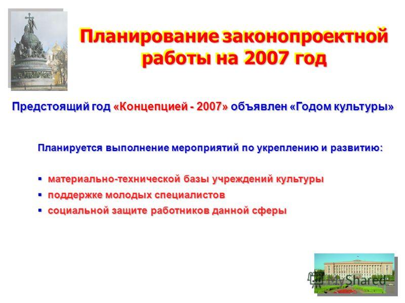 Планирование законопроектной работы на 2007 год Предстоящий год «Концепцией - 2007» объявлен «Годом культуры» Планируется выполнение мероприятий по укреплению и развитию: материально-технической базы учреждений культуры материально-технической базы у