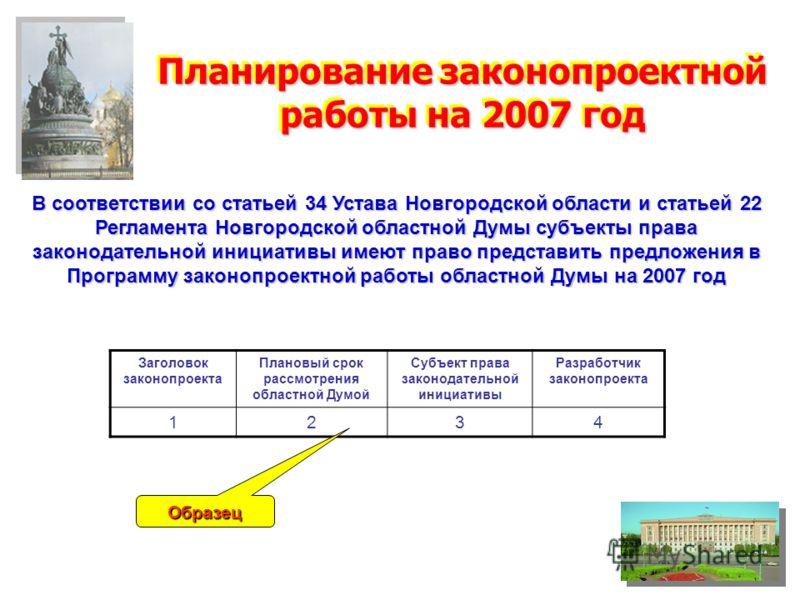 Планирование законопроектной работы на 2007 год В соответствии со статьей 34 Устава Новгородской области и статьей 22 Регламента Новгородской областной Думы субъекты права законодательной инициативы имеют право представить предложения в Программу зак
