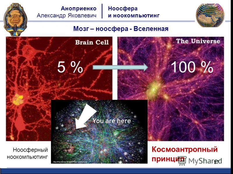 37 Ноосфера и ноокомпьютинг Аноприенко Александр Яковлевич Мозг – ноосфера - Вселенная Ноосферный ноокомпьютинг 5 %100 % Космоантропный принцип