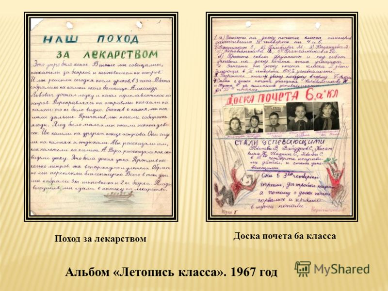 Поход за лекарством Доска почета 6а класса Альбом «Летопись класса». 1967 год