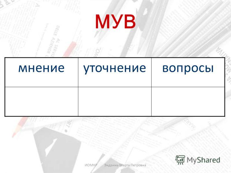 ИОМКР Эндзинь Марта Петровна МУВ мнениеуточнениевопросы