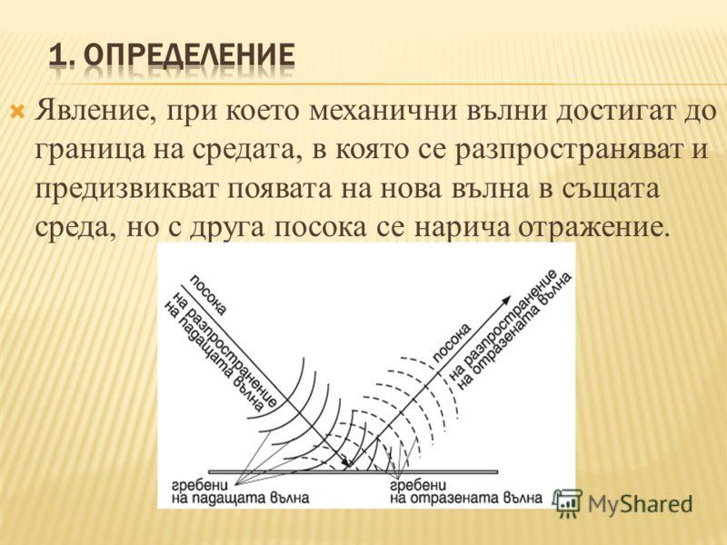 Явление, при което механични вълни достигат до граница на средата, в която се разпространяват и предизвикват появата на нова вълна в същата среда, но с друга посока се нарича отражение.