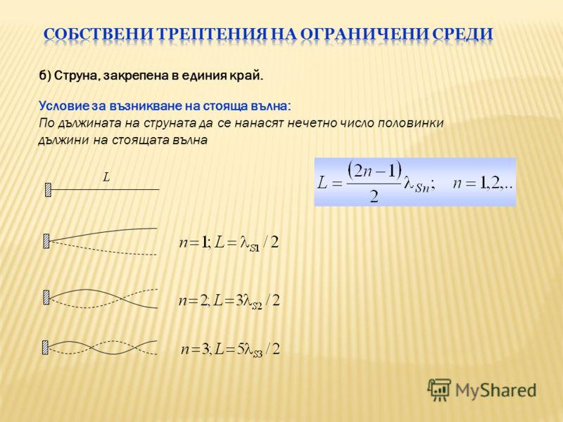б) Струна, закрепена в единия край. Условие за възникване на стояща вълна: По дължината на струната да се нанасят нечетно число половинки дължини на стоящата вълна